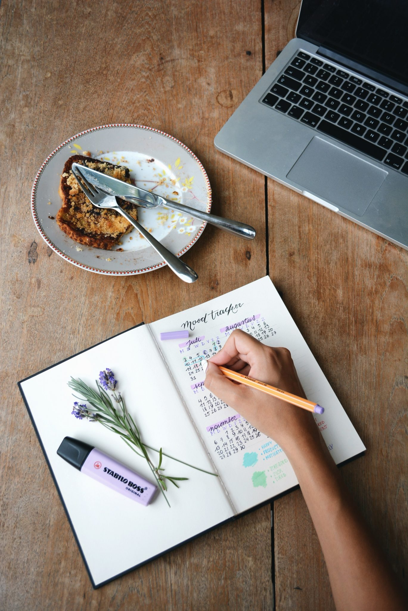 Mano di donna che scrive la sua routine su un'agenda di fianco ad un computer e una fetta di torta - foto in CC tatianaberlaffa.com