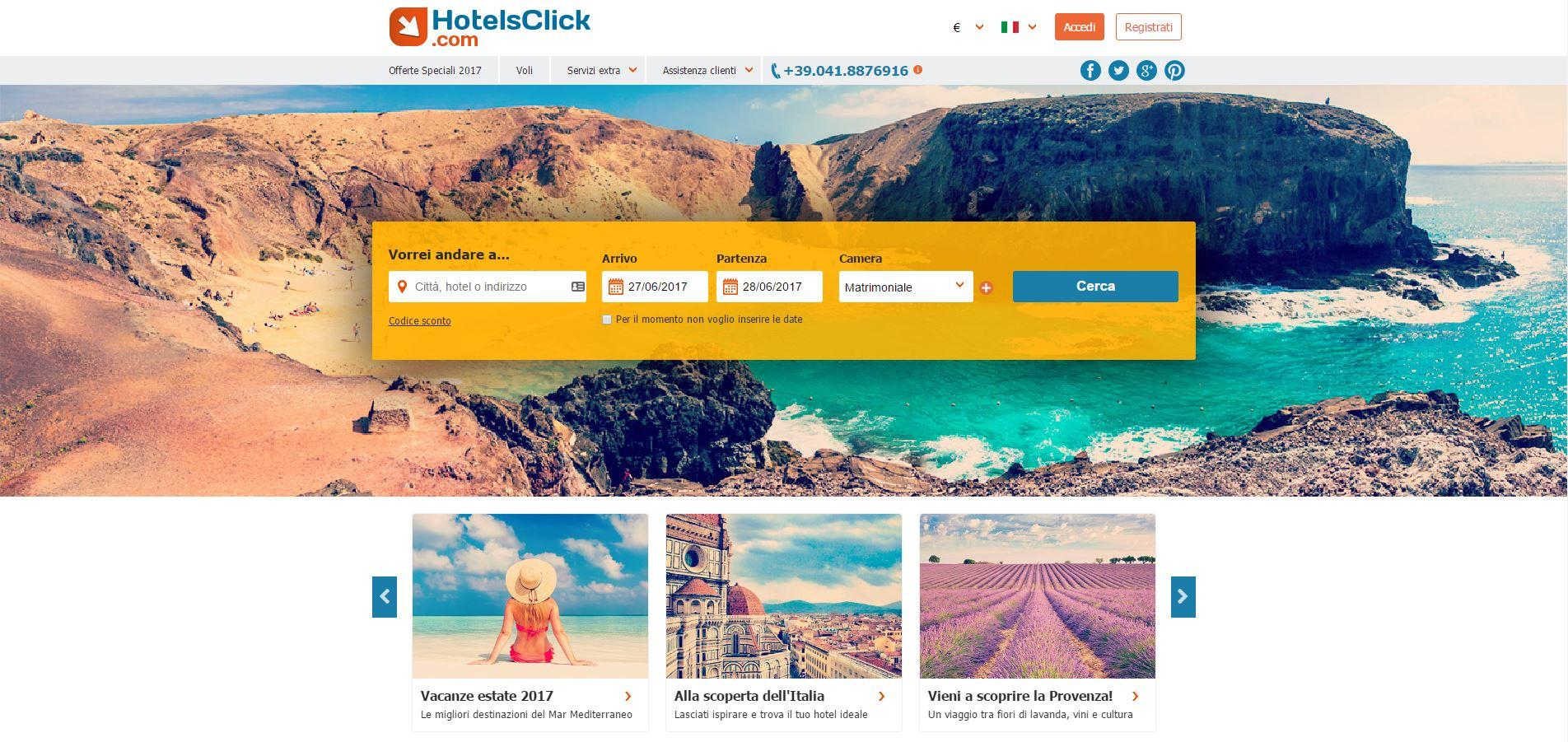 homepage hotelsclick.com - pubblicata da tatianaberlaffa.com
